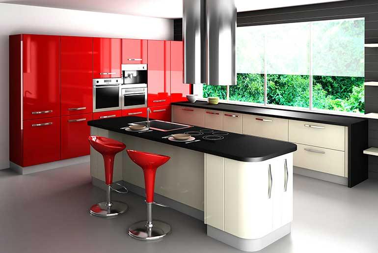 Kırmızı Siyah Amerikan Mutfak Modeli
